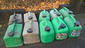 10 Plastic Petrol Cans (used)