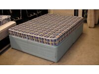 Blue double bed with drawers and Perfeeta Beds mattress