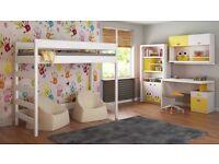 Loft Bed - Hugo For Kids Children Juniors with Ladder on the Side (Short Edge)