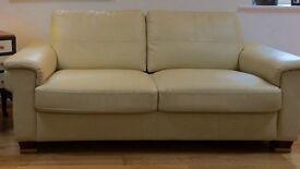 Leather cream sofa 3 seater practically new