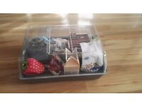 Hamster cage with accessories and food.