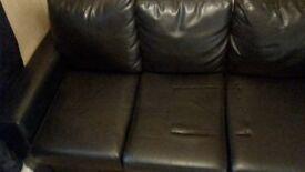 3 seat black leather sofa
