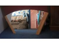 RAINBOW ARCHED SHAPE MIRROR WITH WOODEN FRAME