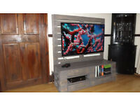 gray wooden TV stand/unit