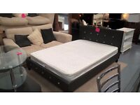 black leather and diamonte double bed with optional mattress