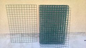 Welded wire mesh panels, green plastic coated. Qty 13
