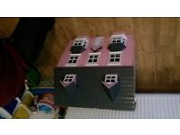 Large wooden doll house plus accessories £45