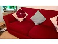 Red 2 & 3 seater sofas, excellent condition