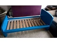 Lovely solid toddlers bed with mattress which has a removable washable cover.