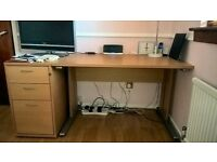 Desk with Matching Pedestal Drawers and Bookcase for Sale