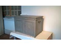 Rustic oak storage chest trunk