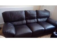 Brown leather 3 seater recliner great condition