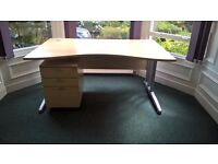 3 x curved office desks; very good condition; beech-coloured with silver legs - NO PEDESTALS