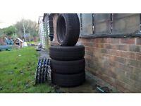 Snow Tyres Avon Ice Touring STon Peugeot 4 stud steel rims 205/55/16 over 5mm tread