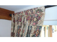 Curtains and four matching cushions in Aztec design PLUS telescopic black pole