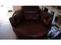 Brown Real Leather Swivel 2 Seater Chair