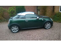 Mini Cooper Coupe automatic racing green metallic silver stripes oct 2012