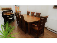 Teak rustic/farmhouse dining table 8 chairs. FREE DELIVERY!!