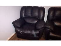 Black Leather 3 Seat Recliner Sofa & Arm Chair Recliner