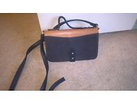 """Dark blue and tan, shoulder and hand straps. there are three sections inside. 9 """" x 6"""" Unused."""