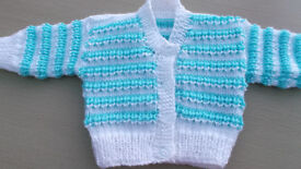 Baby's Mint & White Cardigan 0-3 months.