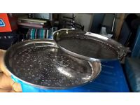 2 silver serving trays