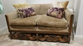 Antique Vintage 2 Seater Sofa wooden carving for reupholstering upcycling project