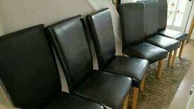 6 dark brown/black faux leather hiback dining chairs