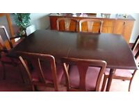 DINNING TABLE (ROSEWOOD) with 6 CHAIRS