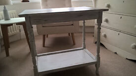 Shabby chic vintage side table with shelf