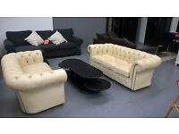 cream leather 3&2 chesterfield sofas