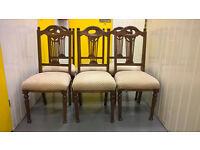 6 Solid Walnut Edwardian Dining Chairs