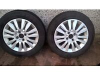 Pair of winter tyres 185 x 60 R15 on Renault Clio 15 inch Alloy rims VGC £80