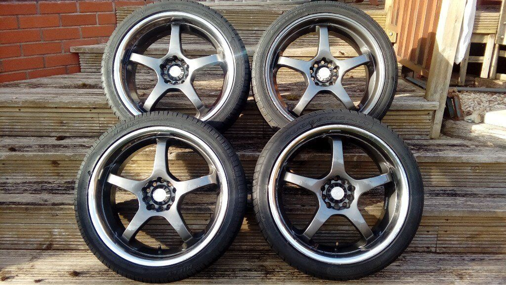18inch ALLOY WHEELS WITH CHROME LIP & 225 40 18 TYRES FORD RENAULT TOYOTA ROVER MG VW AUDI