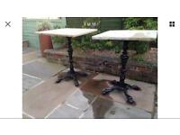 Cast iron tables with Indian stone tops
