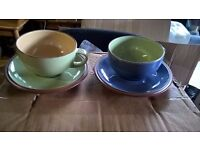 2 LARGE TEA CUP AND SAUCERS NEVER USED