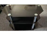 Matrix Glass Corner TV Unit - Black & Chrome