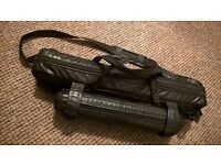 Flute & Piccolo Dual Carrying Case in black faux leather outer.