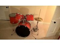 Drum kit in bright red