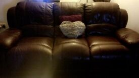 Large 3seat Leather Reclining Sofa and Large Chair