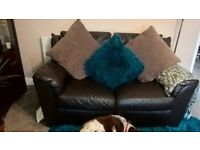 brown leather 2 seater sofa and reclining chair