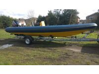 Rib Boat 7m Sports Rib with Mercury XR6 150hp Outboard and Trailer