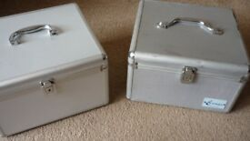 2 x CD locking flight cases, keys and suspending disc holder sleeves Bargain £15.00 for both