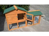 Rabbit / Guinea Pig Hutch & Run with waterproof cover - excellent condition