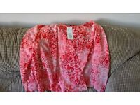 BRAND NEW - Red and white ladies top size 14