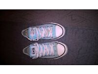 Size 6 baby blue converse trainers