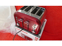 Toaster with four slots made by Morphy Richards in Red Colour all in original box