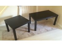 2 dark brown side tables, 1 dark brown coffee table