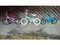 three kids bikes