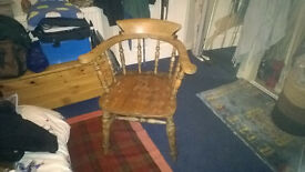 antique tub chair- slight signs of worm but has been properly treated & still beautiful solid chair